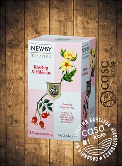 чай Newby Шиповник и Гибискус 25 пакетиков фруктовый 50гр